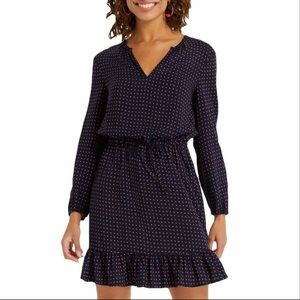 Draper James Printed Tie Waist Dress Nassau Navy